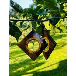 Leseni viseči uhani - OREH IN FIGA