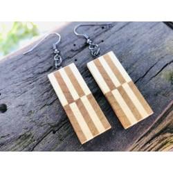 Leseni viseči uhani - OREH IN BRŠLJAN